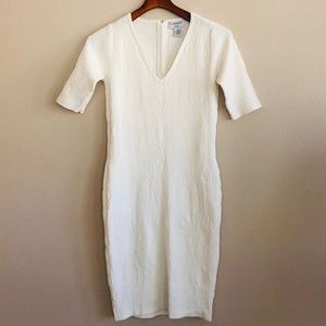 Textured Cream Knit Dress by Carmen Marc Valvo